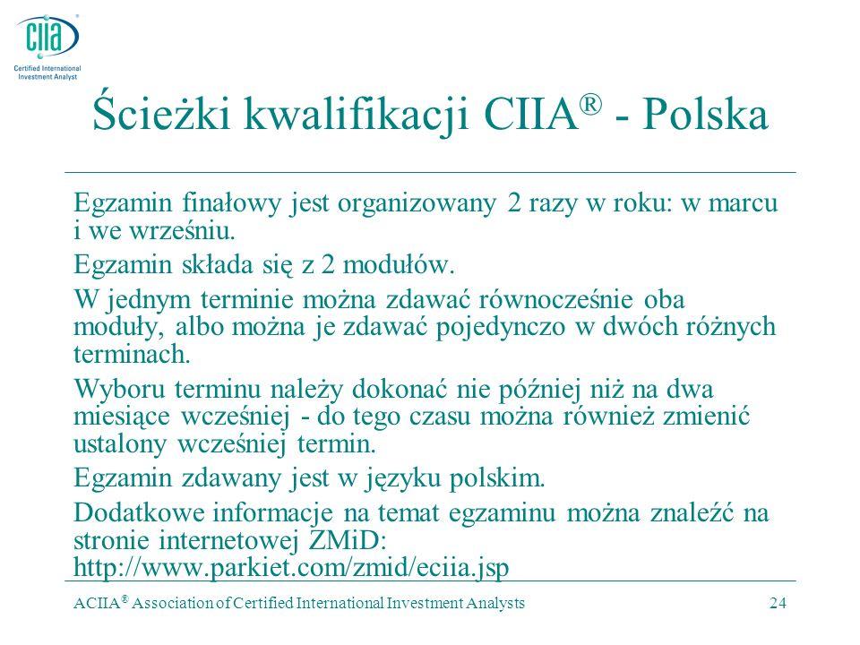 ACIIA ® Association of Certified International Investment Analysts24 Ścieżki kwalifikacji CIIA ® - Polska Egzamin finałowy jest organizowany 2 razy w roku: w marcu i we wrześniu.