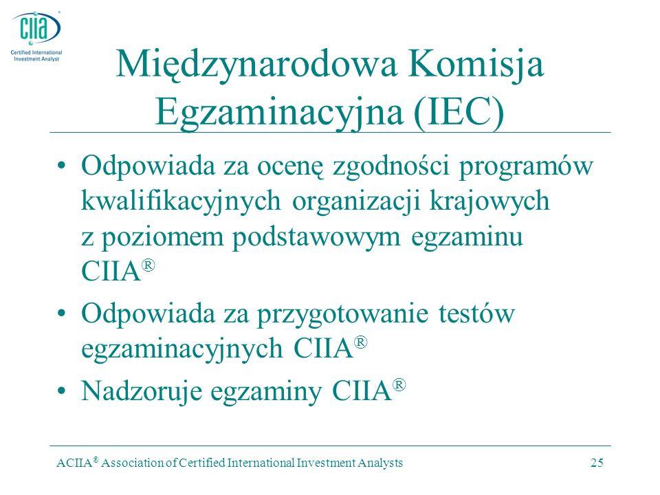 ACIIA ® Association of Certified International Investment Analysts25 Międzynarodowa Komisja Egzaminacyjna (IEC) Odpowiada za ocenę zgodności programów
