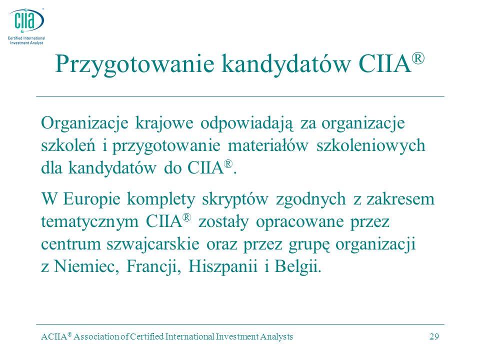ACIIA ® Association of Certified International Investment Analysts29 Przygotowanie kandydatów CIIA ® Organizacje krajowe odpowiadają za organizacje szkoleń i przygotowanie materiałów szkoleniowych dla kandydatów do CIIA ®.
