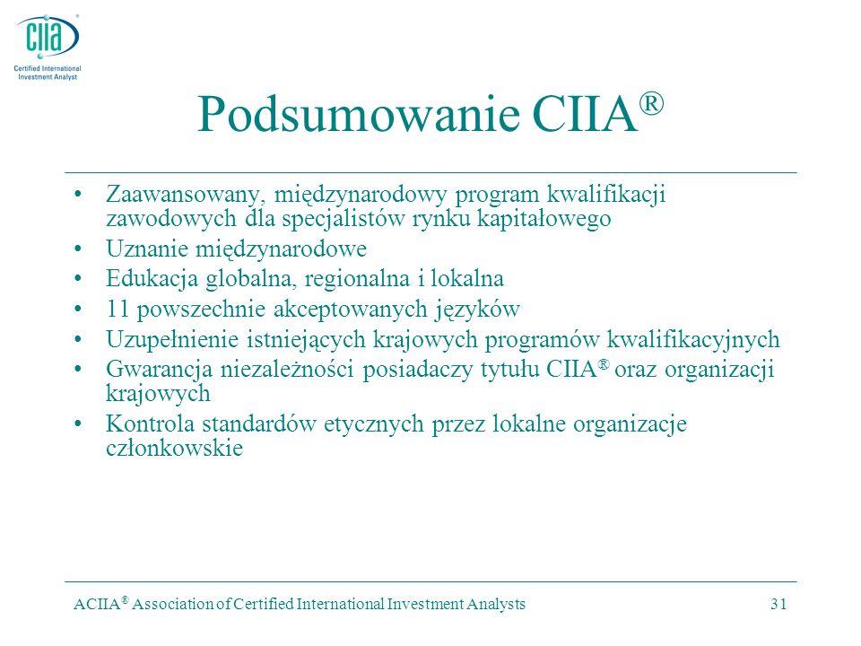 ACIIA ® Association of Certified International Investment Analysts31 Podsumowanie CIIA ® Zaawansowany, międzynarodowy program kwalifikacji zawodowych