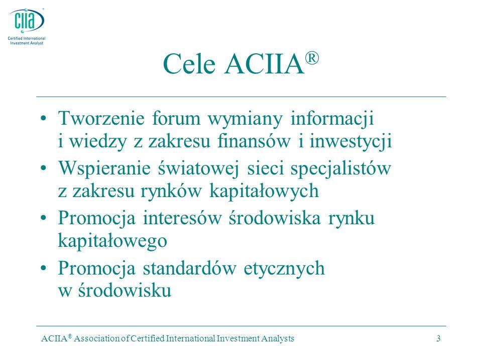ACIIA ® Association of Certified International Investment Analysts3 Cele ACIIA ® Tworzenie forum wymiany informacji i wiedzy z zakresu finansów i inwestycji Wspieranie światowej sieci specjalistów z zakresu rynków kapitałowych Promocja interesów środowiska rynku kapitałowego Promocja standardów etycznych w środowisku