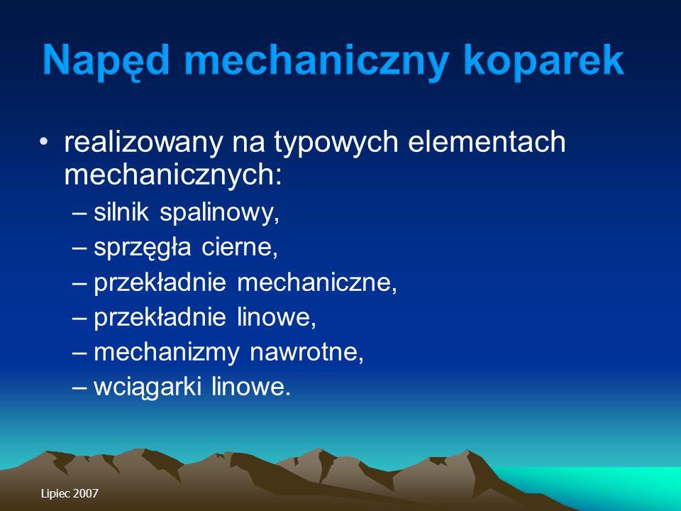 realizowany na typowych elementach mechanicznych: –silnik spalinowy, –sprzęgła cierne, –przekładnie mechaniczne, –przekładnie linowe, –mechanizmy nawr