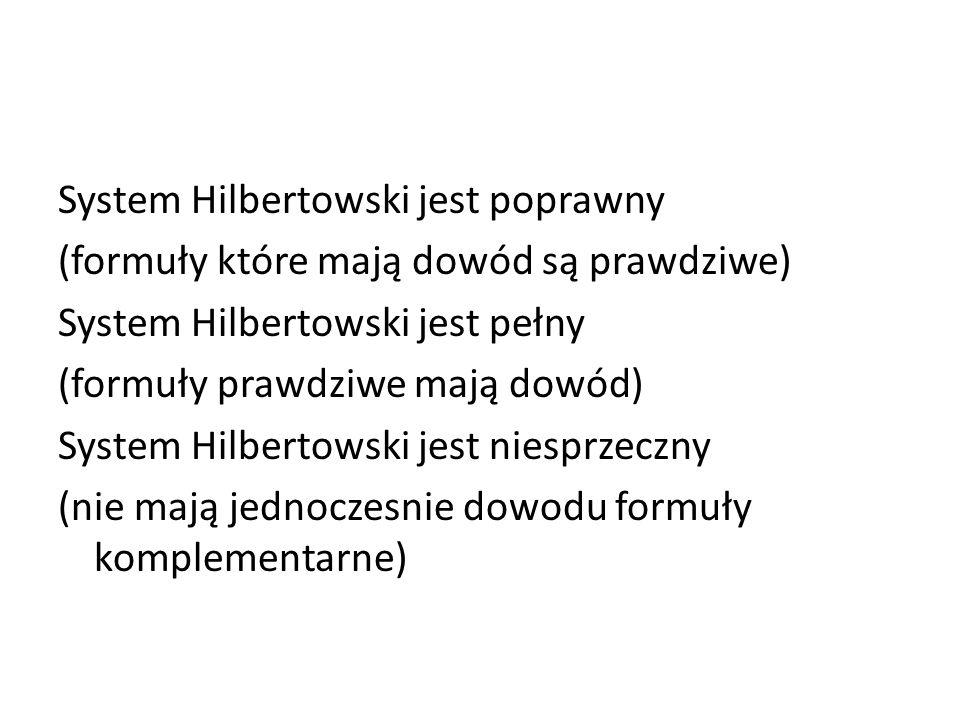 System Hilbertowski jest poprawny (formuły które mają dowód są prawdziwe) System Hilbertowski jest pełny (formuły prawdziwe mają dowód) System Hilbert