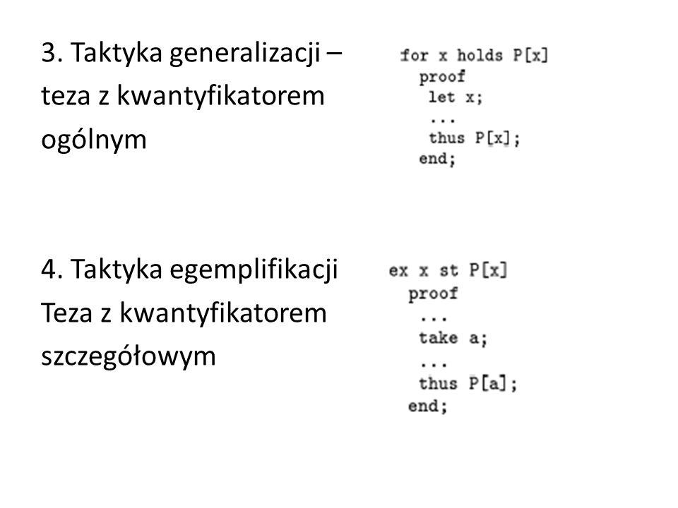 3. Taktyka generalizacji – teza z kwantyfikatorem ogólnym 4. Taktyka egemplifikacji Teza z kwantyfikatorem szczegółowym