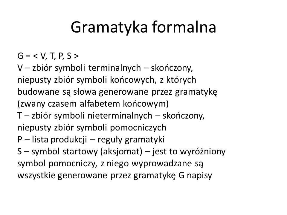 Gramatyka formalna G = V – zbiór symboli terminalnych – skończony, niepusty zbiór symboli końcowych, z których budowane są słowa generowane przez gram
