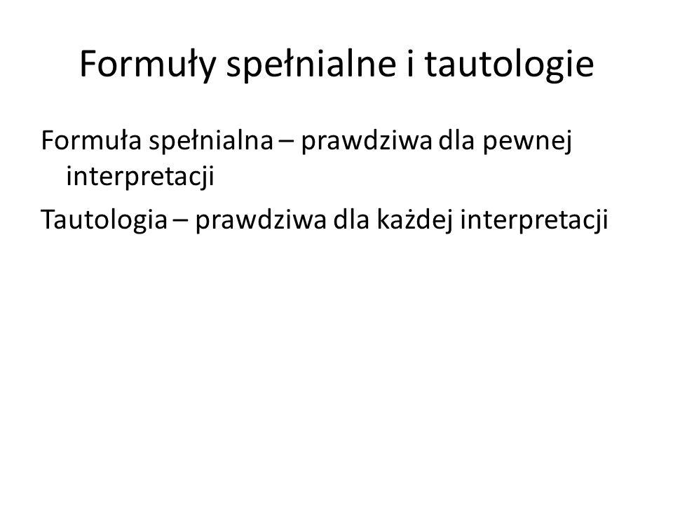 Formuły spełnialne i tautologie Formuła spełnialna – prawdziwa dla pewnej interpretacji Tautologia – prawdziwa dla każdej interpretacji