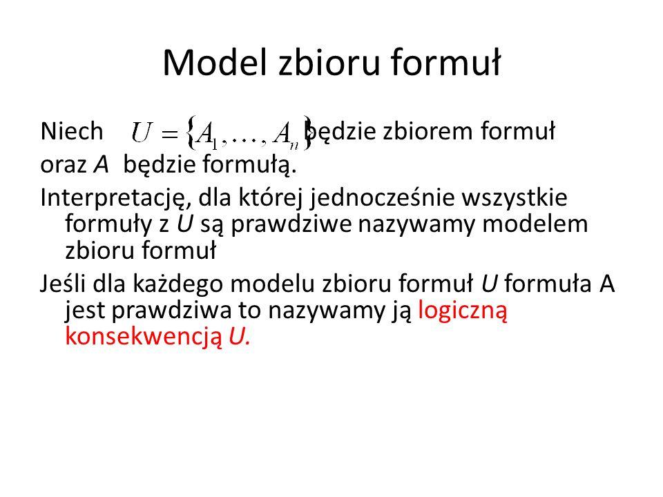 Model zbioru formuł Niech będzie zbiorem formuł oraz A będzie formułą. Interpretację, dla której jednocześnie wszystkie formuły z U są prawdziwe nazyw