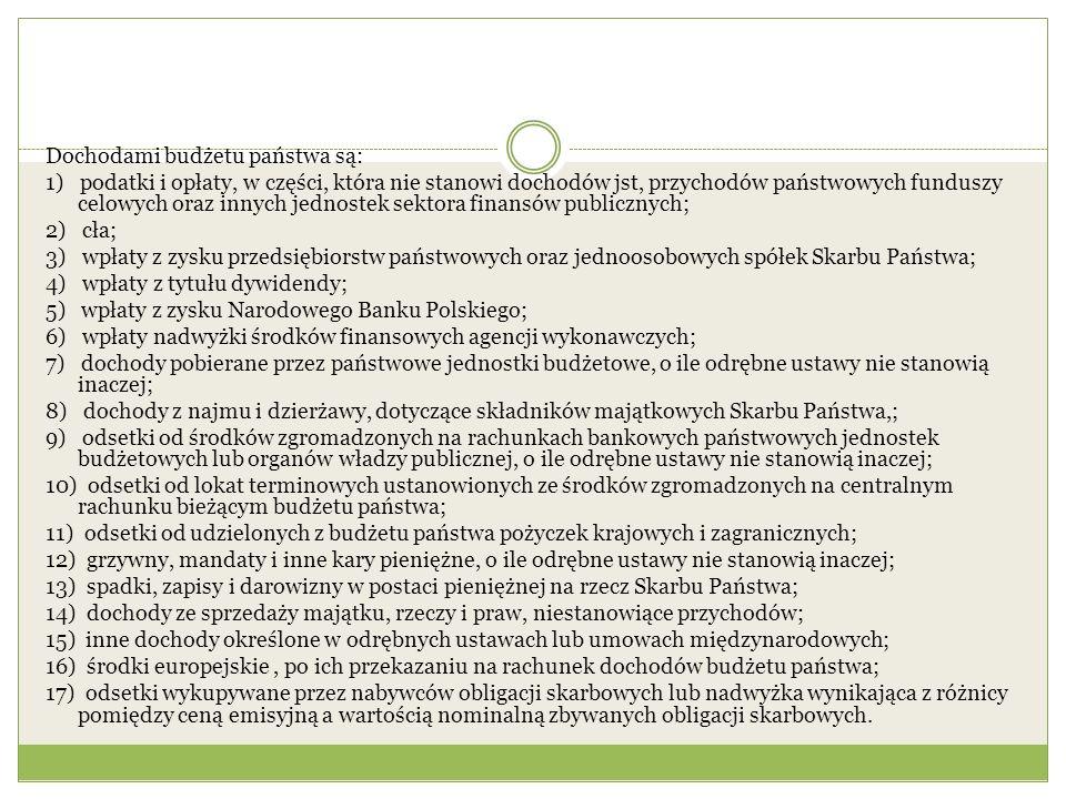 Dochodami budżetu państwa są: 1) podatki i opłaty, w części, która nie stanowi dochodów jst, przychodów państwowych funduszy celowych oraz innych jednostek sektora finansów publicznych; 2) cła; 3) wpłaty z zysku przedsiębiorstw państwowych oraz jednoosobowych spółek Skarbu Państwa; 4) wpłaty z tytułu dywidendy; 5) wpłaty z zysku Narodowego Banku Polskiego; 6) wpłaty nadwyżki środków finansowych agencji wykonawczych; 7) dochody pobierane przez państwowe jednostki budżetowe, o ile odrębne ustawy nie stanowią inaczej; 8) dochody z najmu i dzierżawy, dotyczące składników majątkowych Skarbu Państwa,; 9) odsetki od środków zgromadzonych na rachunkach bankowych państwowych jednostek budżetowych lub organów władzy publicznej, o ile odrębne ustawy nie stanowią inaczej; 10) odsetki od lokat terminowych ustanowionych ze środków zgromadzonych na centralnym rachunku bieżącym budżetu państwa; 11) odsetki od udzielonych z budżetu państwa pożyczek krajowych i zagranicznych; 12) grzywny, mandaty i inne kary pieniężne, o ile odrębne ustawy nie stanowią inaczej; 13) spadki, zapisy i darowizny w postaci pieniężnej na rzecz Skarbu Państwa; 14) dochody ze sprzedaży majątku, rzeczy i praw, niestanowiące przychodów; 15) inne dochody określone w odrębnych ustawach lub umowach międzynarodowych; 16) środki europejskie, po ich przekazaniu na rachunek dochodów budżetu państwa; 17) odsetki wykupywane przez nabywców obligacji skarbowych lub nadwyżka wynikająca z różnicy pomiędzy ceną emisyjną a wartością nominalną zbywanych obligacji skarbowych.