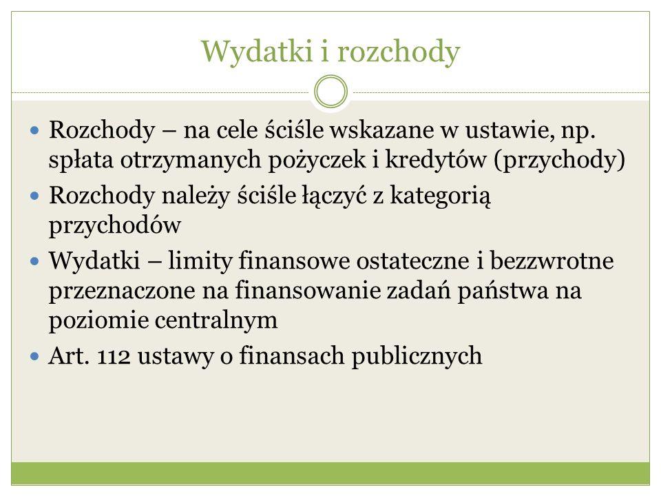 Wydatki i rozchody Rozchody – na cele ściśle wskazane w ustawie, np. spłata otrzymanych pożyczek i kredytów (przychody) Rozchody należy ściśle łączyć