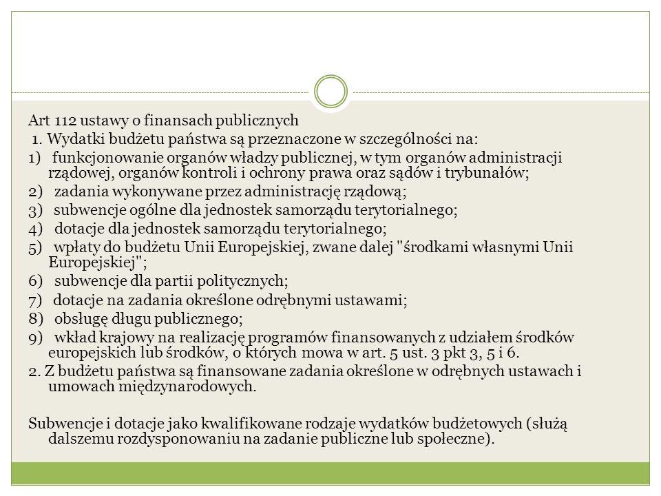Art 112 ustawy o finansach publicznych 1. Wydatki budżetu państwa są przeznaczone w szczególności na: 1) funkcjonowanie organów władzy publicznej, w t