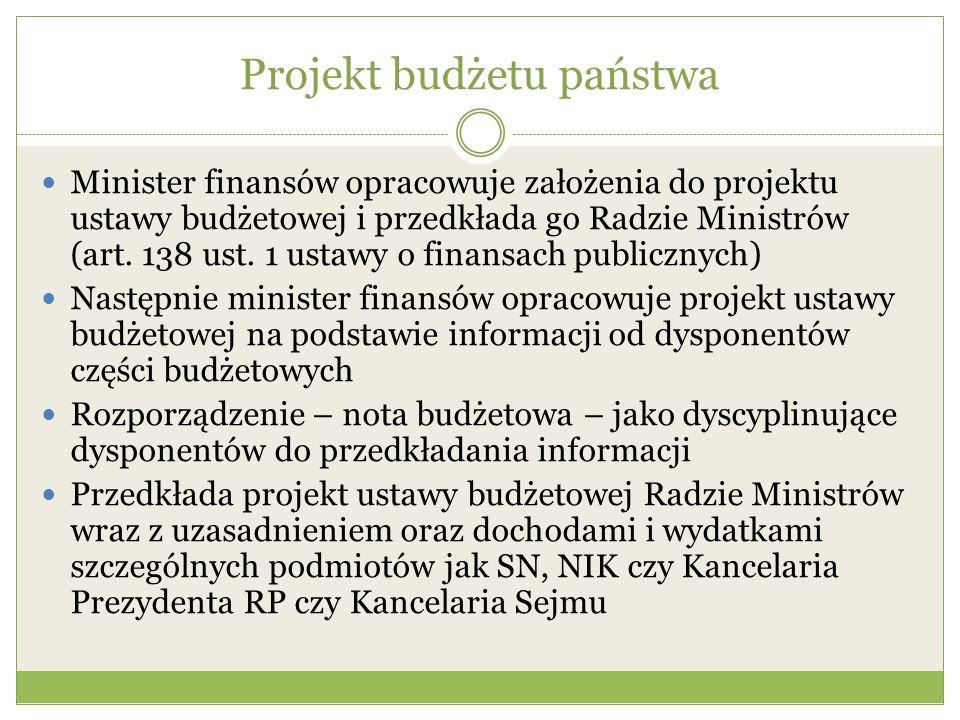 Projekt budżetu państwa Minister finansów opracowuje założenia do projektu ustawy budżetowej i przedkłada go Radzie Ministrów (art. 138 ust. 1 ustawy