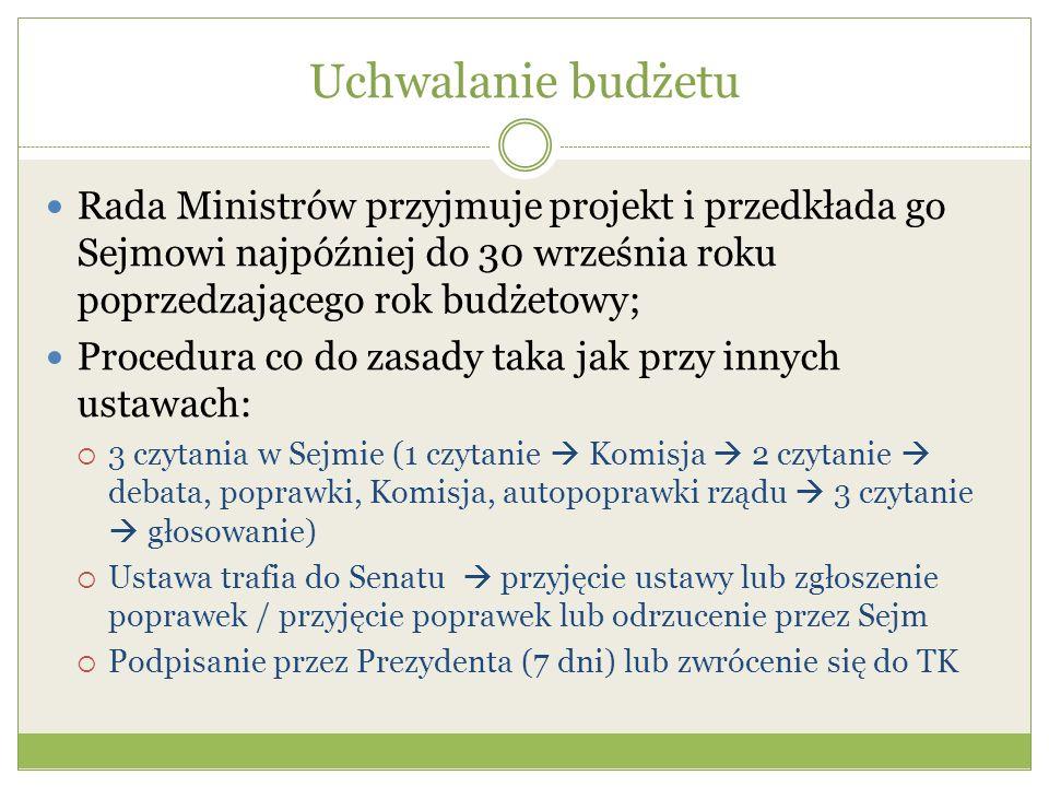 Uchwalanie budżetu Rada Ministrów przyjmuje projekt i przedkłada go Sejmowi najpóźniej do 30 września roku poprzedzającego rok budżetowy; Procedura co do zasady taka jak przy innych ustawach:  3 czytania w Sejmie (1 czytanie  Komisja  2 czytanie  debata, poprawki, Komisja, autopoprawki rządu  3 czytanie  głosowanie)  Ustawa trafia do Senatu  przyjęcie ustawy lub zgłoszenie poprawek / przyjęcie poprawek lub odrzucenie przez Sejm  Podpisanie przez Prezydenta (7 dni) lub zwrócenie się do TK