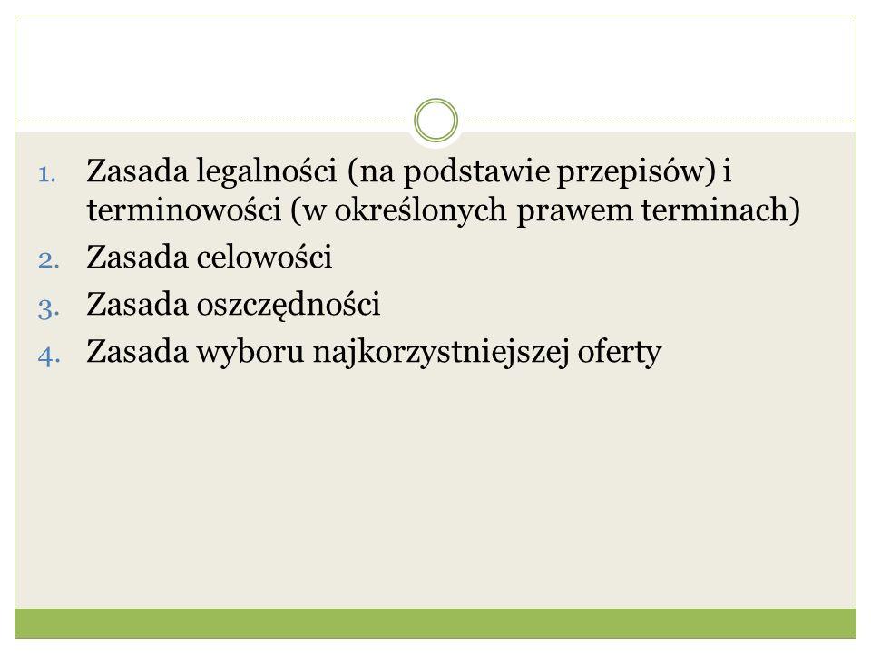1. Zasada legalności (na podstawie przepisów) i terminowości (w określonych prawem terminach) 2. Zasada celowości 3. Zasada oszczędności 4. Zasada wyb