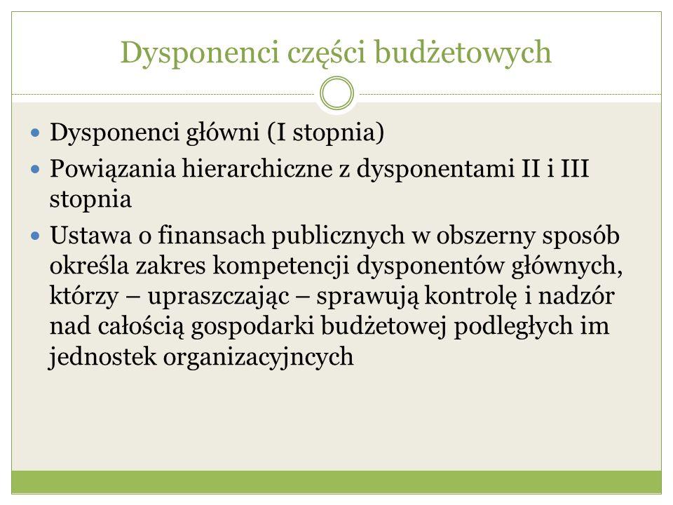 Dysponenci części budżetowych Dysponenci główni (I stopnia) Powiązania hierarchiczne z dysponentami II i III stopnia Ustawa o finansach publicznych w