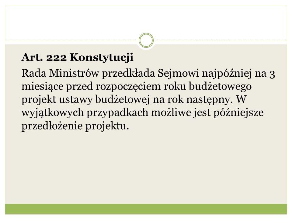 Art. 222 Konstytucji Rada Ministrów przedkłada Sejmowi najpóźniej na 3 miesiące przed rozpoczęciem roku budżetowego projekt ustawy budżetowej na rok n