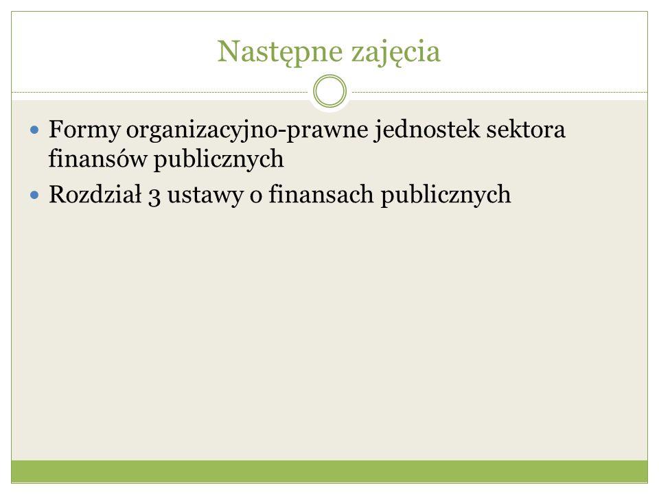 Następne zajęcia Formy organizacyjno-prawne jednostek sektora finansów publicznych Rozdział 3 ustawy o finansach publicznych