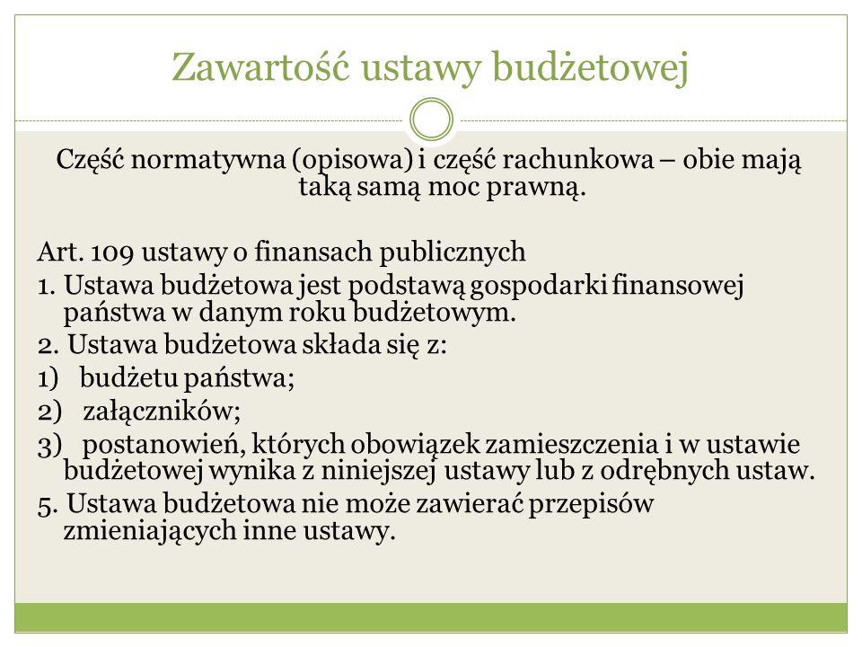 Zawartość ustawy budżetowej Część normatywna (opisowa) i część rachunkowa – obie mają taką samą moc prawną. Art. 109 ustawy o finansach publicznych 1.