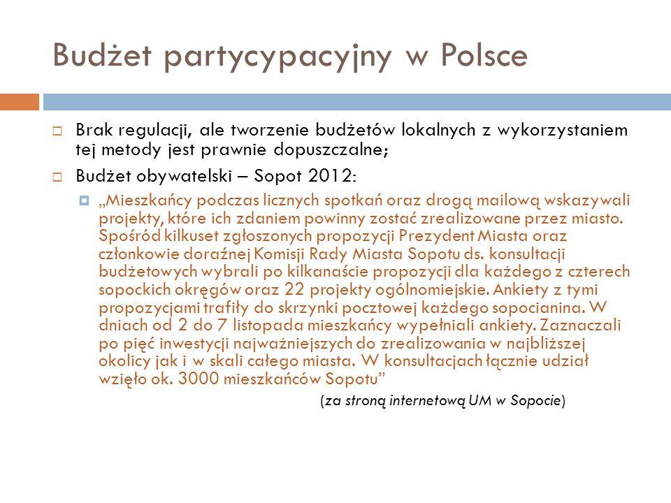 Budżet partycypacyjny w Polsce  Brak regulacji, ale tworzenie budżetów lokalnych z wykorzystaniem tej metody jest prawnie dopuszczalne;  Budżet obyw