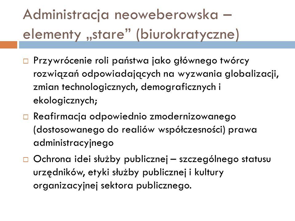 """Administracja neoweberowska – elementy """"stare"""" (biurokratyczne)  Przywrócenie roli państwa jako głównego twórcy rozwiązań odpowiadających na wyzwania"""