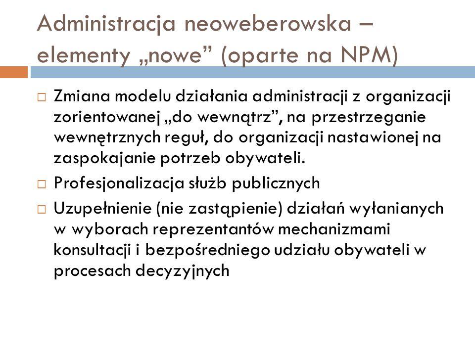 """Administracja neoweberowska – elementy """"nowe"""" (oparte na NPM)  Zmiana modelu działania administracji z organizacji zorientowanej """"do wewnątrz"""", na pr"""