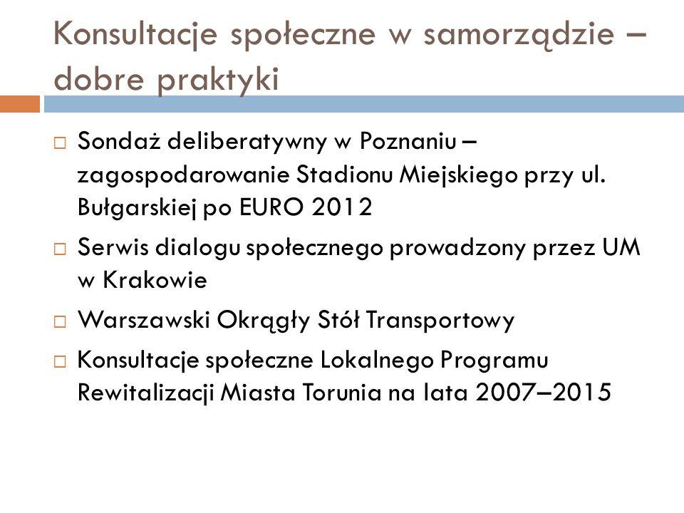 Konsultacje społeczne w samorządzie – dobre praktyki  Sondaż deliberatywny w Poznaniu – zagospodarowanie Stadionu Miejskiego przy ul. Bułgarskiej po