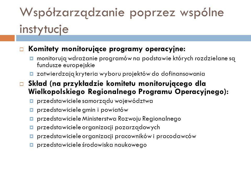 Współzarządzanie poprzez wspólne instytucje  Komitety monitorujące programy operacyjne:  monitorują wdrażanie programów na podstawie których rozdzie