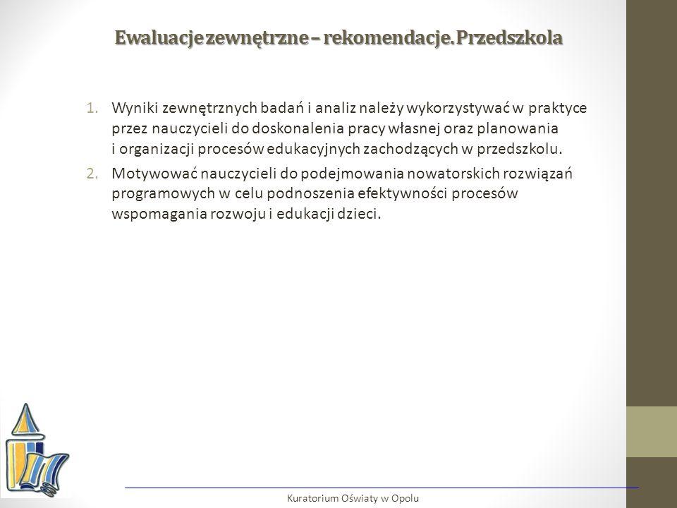 Ewaluacje zewnętrzne – rekomendacje. Przedszkola 1.Wyniki zewnętrznych badań i analiz należy wykorzystywać w praktyce przez nauczycieli do doskonaleni