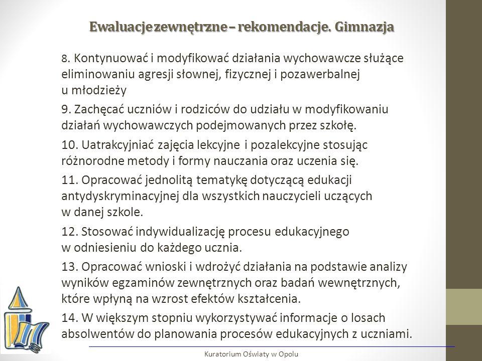 Ewaluacje zewnętrzne – rekomendacje. Gimnazja 8. Kontynuować i modyfikować działania wychowawcze służące eliminowaniu agresji słownej, fizycznej i poz