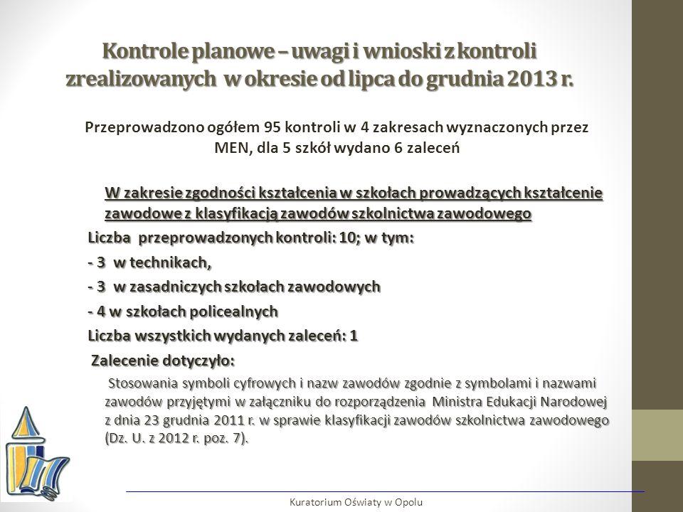 Kontrole planowe – uwagi i wnioski z kontroli zrealizowanych w okresie od lipca do grudnia 2013 r. W zakresie zgodności kształcenia w szkołach prowadz