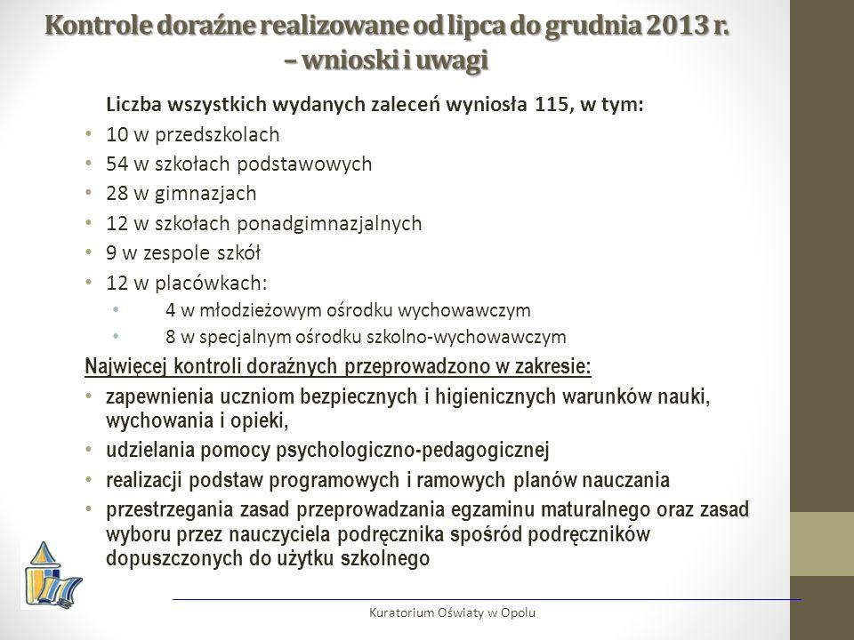 Kontrole doraźne realizowane od lipca do grudnia 2013 r. – wnioski i uwagi Liczba wszystkich wydanych zaleceń wyniosła 115, w tym: 10 w przedszkolach
