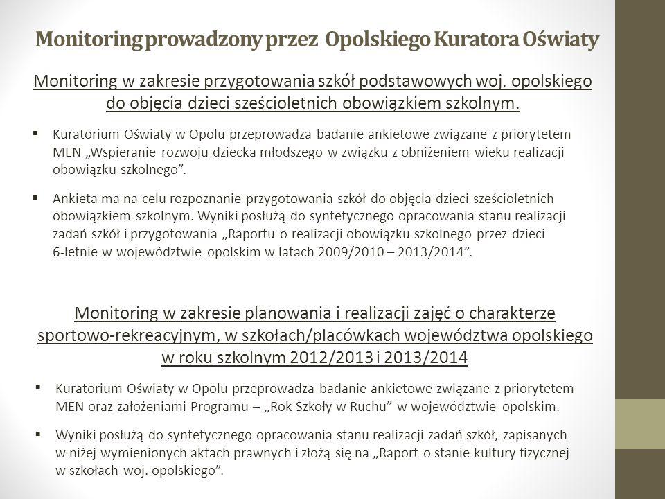 Monitoring prowadzony przez Opolskiego Kuratora Oświaty Monitoring w zakresie przygotowania szkół podstawowych woj. opolskiego do objęcia dzieci sześc
