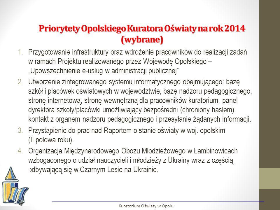 Priorytety Opolskiego Kuratora Oświaty na rok 2014 (wybrane) 1.Przygotowanie infrastruktury oraz wdrożenie pracowników do realizacji zadań w ramach Pr