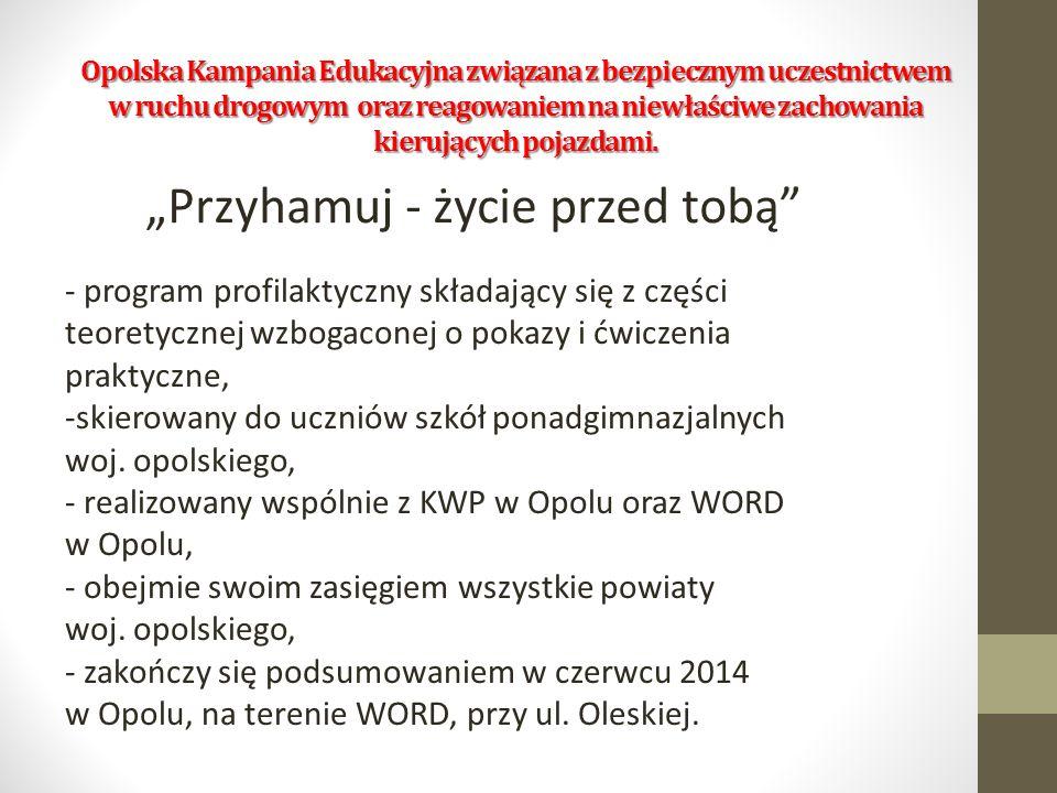 """Opolska Kampania Edukacyjna związana z bezpiecznym uczestnictwem w ruchu drogowym oraz reagowaniem na niewłaściwe zachowania kierujących pojazdami. """"P"""