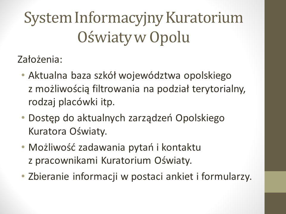 System Informacyjny Kuratorium Oświaty w Opolu Założenia: Aktualna baza szkół województwa opolskiego z możliwością filtrowania na podział terytorialny