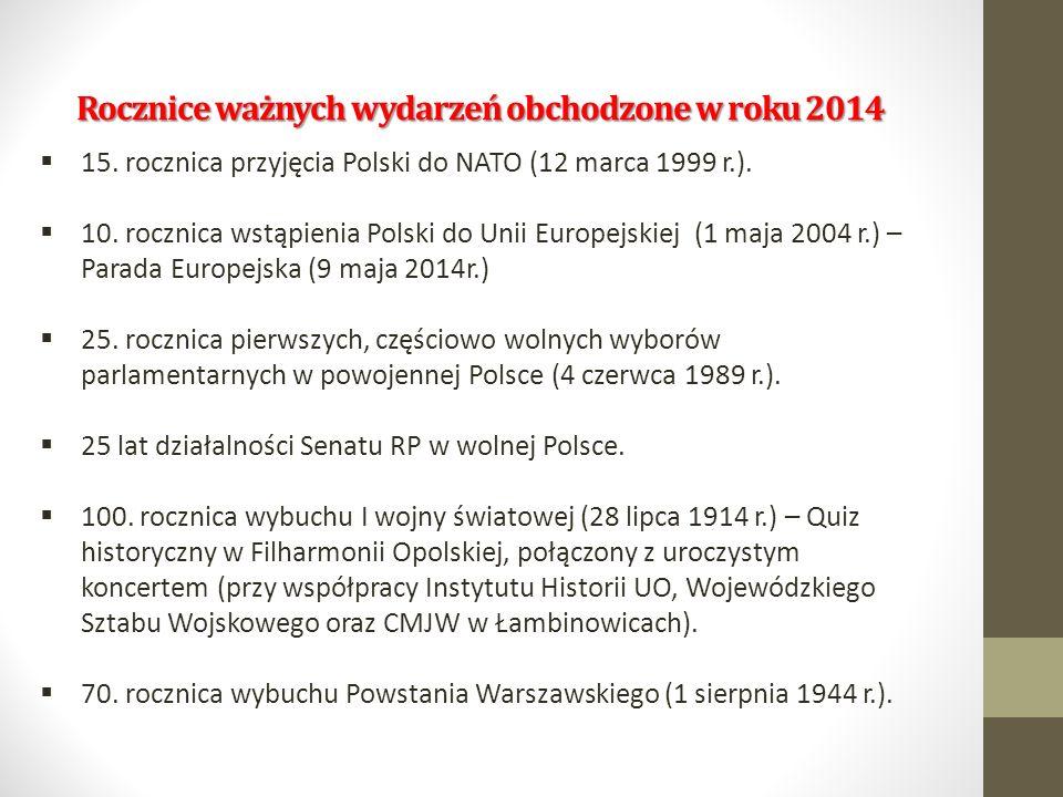 Rocznice ważnych wydarzeń obchodzone w roku 2014  15. rocznica przyjęcia Polski do NATO (12 marca 1999 r.).  10. rocznica wstąpienia Polski do Unii