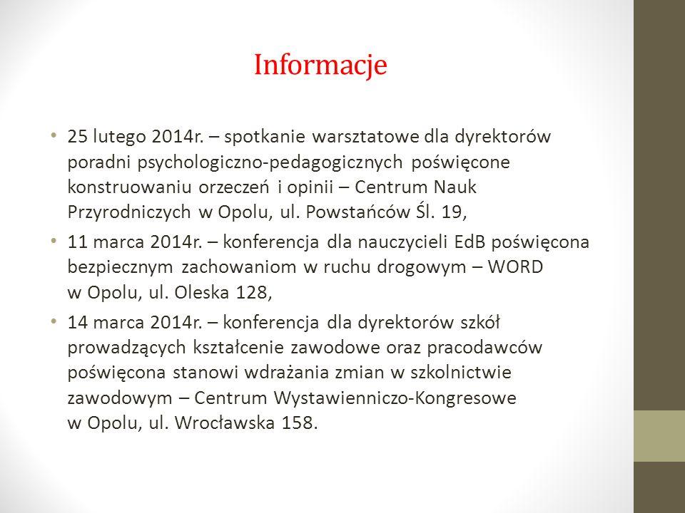 Informacje 25 lutego 2014r. – spotkanie warsztatowe dla dyrektorów poradni psychologiczno-pedagogicznych poświęcone konstruowaniu orzeczeń i opinii –