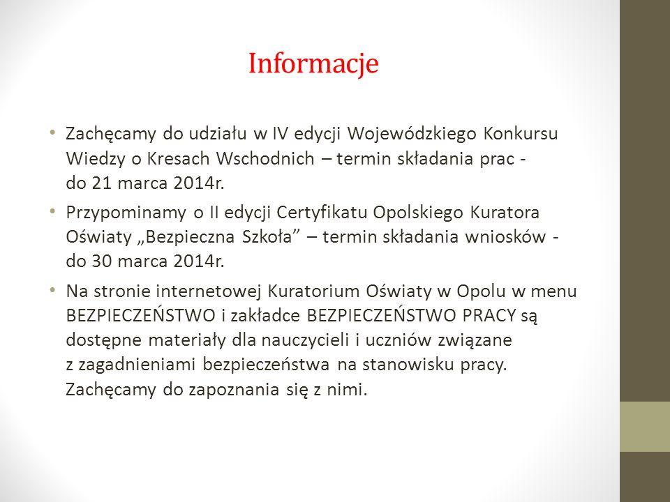 Informacje Zachęcamy do udziału w IV edycji Wojewódzkiego Konkursu Wiedzy o Kresach Wschodnich – termin składania prac - do 21 marca 2014r. Przypomina