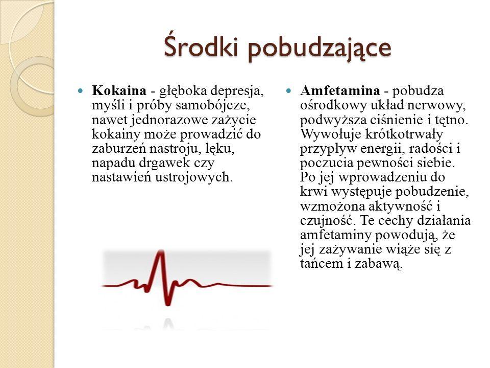 Ecstasy - następuje pobudzenie całego organizmu, pojawia się uczucie ciepła, wzrasta tętno, podnosi się ciśnienie krwi.