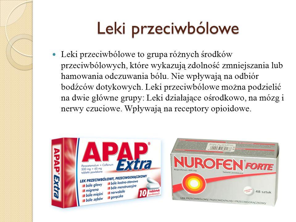 Leki przeciwbólowe Leki przeciwbólowe to grupa różnych środków przeciwbólowych, które wykazują zdolność zmniejszania lub hamowania odczuwania bólu. Ni