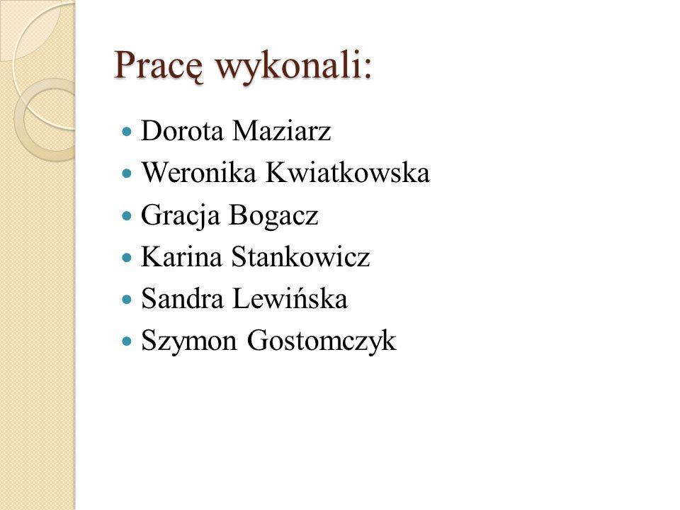 Pracę wykonali: Dorota Maziarz Weronika Kwiatkowska Gracja Bogacz Karina Stankowicz Sandra Lewińska Szymon Gostomczyk
