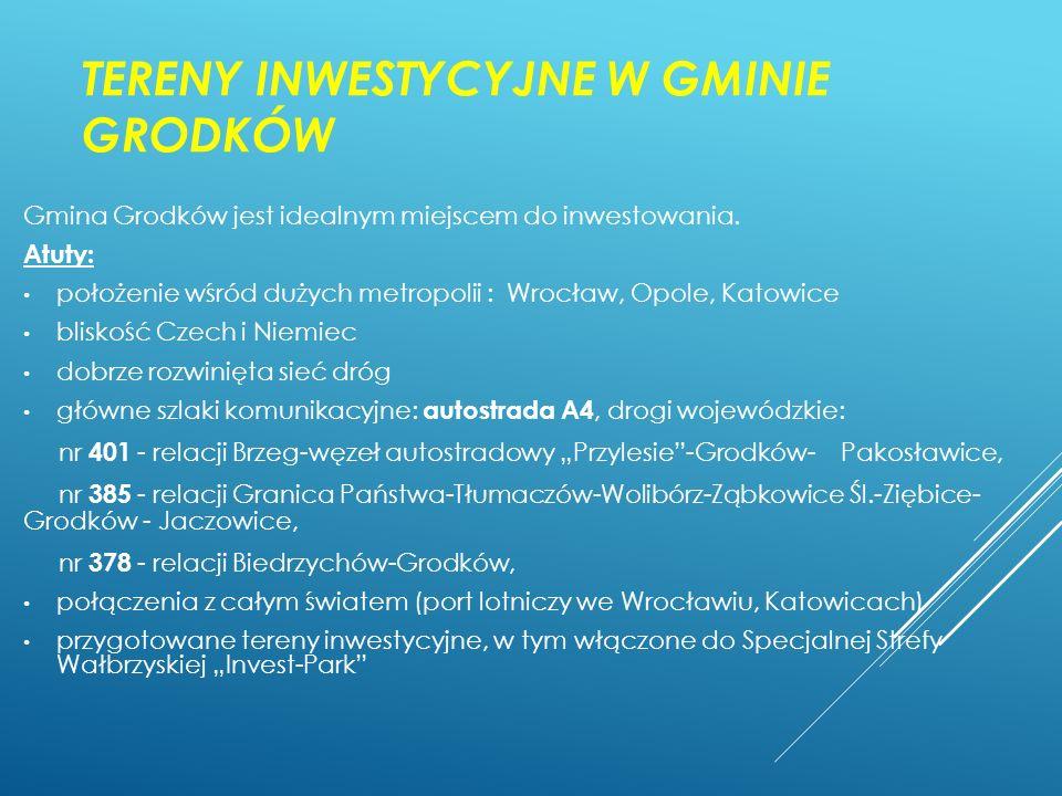 TERENY INWESTYCYJNE W GMINIE GRODKÓW Gmina Grodków jest idealnym miejscem do inwestowania. Atuty: położenie wśród dużych metropolii : Wrocław, Opole,