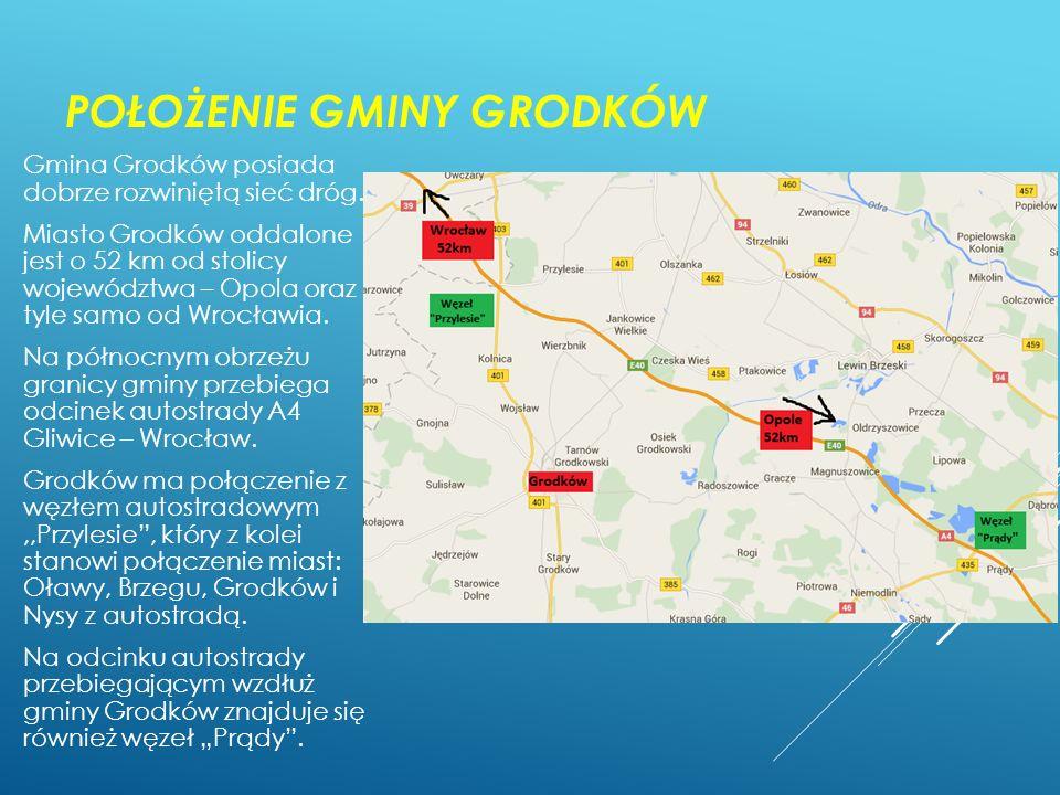 POŁOŻENIE GMINY GRODKÓW Gmina Grodków posiada dobrze rozwiniętą sieć dróg. Miasto Grodków oddalone jest o 52 km od stolicy województwa – Opola oraz ty