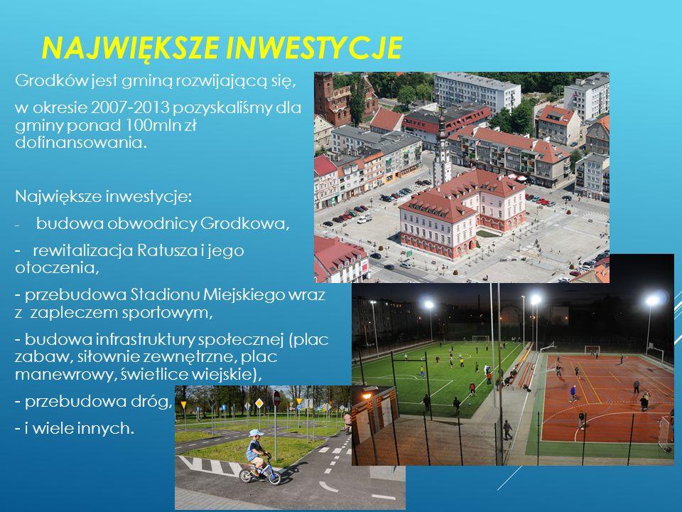 NAJWIĘKSZE INWESTYCJE Grodków jest gminą rozwijającą się, w okresie 2007-2013 pozyskaliśmy dla gminy ponad 100mln zł dofinansowania. Największe inwest