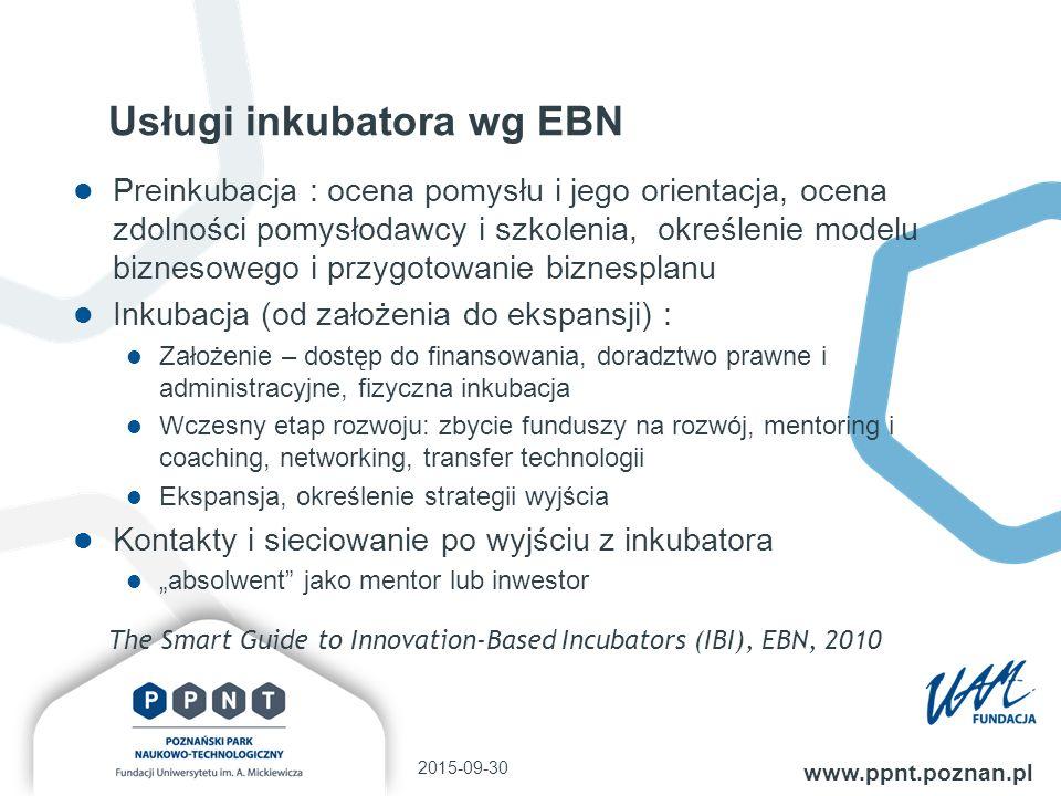 """Usługi inkubatora wg EBN Preinkubacja : ocena pomysłu i jego orientacja, ocena zdolności pomysłodawcy i szkolenia, określenie modelu biznesowego i przygotowanie biznesplanu Inkubacja (od założenia do ekspansji) : Założenie – dostęp do finansowania, doradztwo prawne i administracyjne, fizyczna inkubacja Wczesny etap rozwoju: zbycie funduszy na rozwój, mentoring i coaching, networking, transfer technologii Ekspansja, określenie strategii wyjścia Kontakty i sieciowanie po wyjściu z inkubatora """"absolwent jako mentor lub inwestor 2015-09-30 www.ppnt.poznan.pl The Smart Guide to Innovation-Based Incubators (IBI), EBN, 2010"""