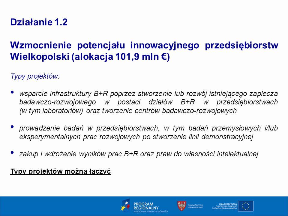 10 Działanie 1.2 Wzmocnienie potencjału innowacyjnego przedsiębiorstw Wielkopolski (alokacja 101,9 mln €) Typy projektów: wsparcie infrastruktury B+R