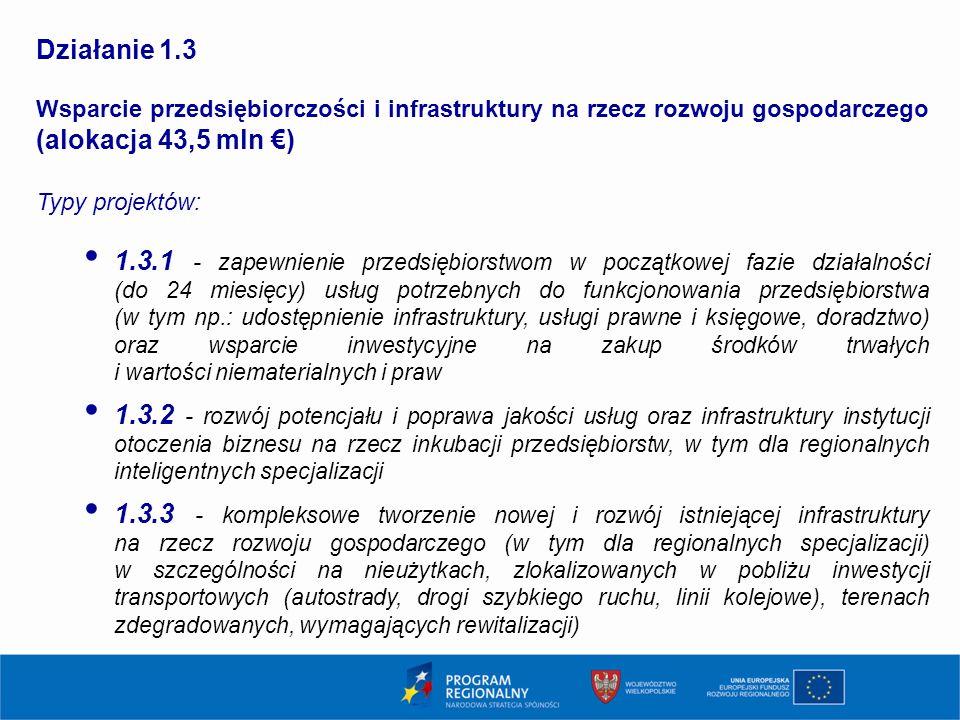 13 Działanie 1.3 Wsparcie przedsiębiorczości i infrastruktury na rzecz rozwoju gospodarczego (alokacja 43,5 mln €) Typy projektów: 1.3.1 - zapewnienie