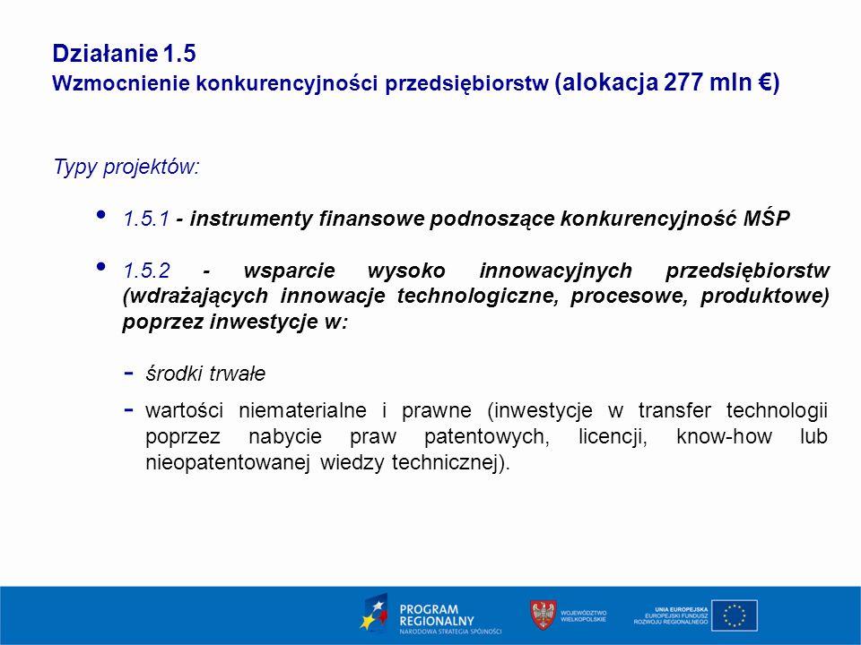19 Działanie 1.5 Wzmocnienie konkurencyjności przedsiębiorstw (alokacja 277 mln €) Typy projektów: 1.5.1 - instrumenty finansowe podnoszące konkurency