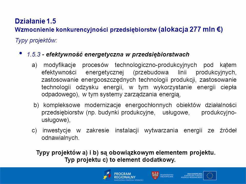 20 Działanie 1.5 Wzmocnienie konkurencyjności przedsiębiorstw (alokacja 277 mln €) Typy projektów: 1.5.3 - efektywność energetyczna w przedsiębiorstwa