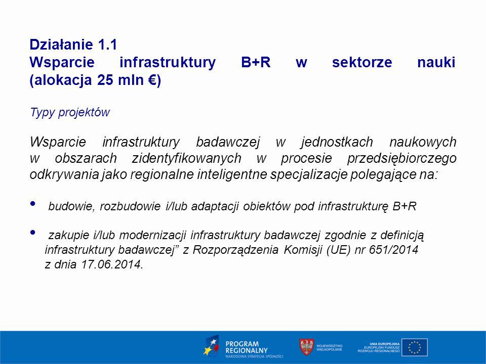 7 Działanie 1.1 Wsparcie infrastruktury B+R w sektorze nauki (alokacja 25 mln €) Typy projektów Wsparcie infrastruktury badawczej w jednostkach naukow