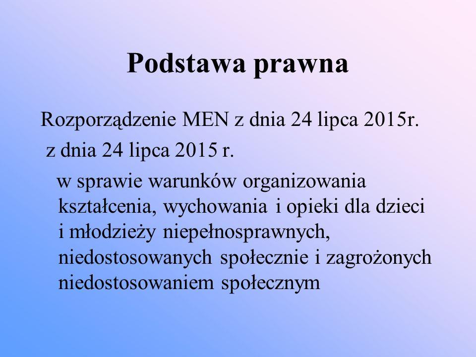 Podstawa prawna Rozporządzenie MEN z dnia 24 lipca 2015r. z dnia 24 lipca 2015 r. w sprawie warunków organizowania kształcenia, wychowania i opieki dl